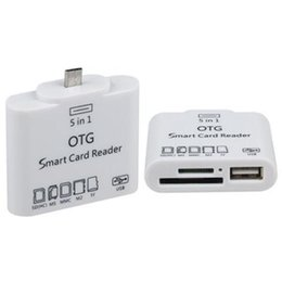 Wholesale otg connection - 5 in 1 Micro USB OTG smart card reader connection kit for samsung galaxy s3 s4 smart phone &PAD