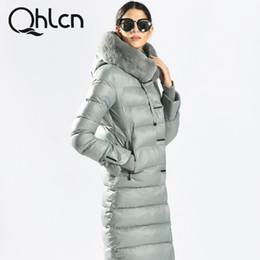 Wholesale Blue Rabbit Jacket - QHLCN 2016 Womens Winter Down Jackets And Coats Medium Length Women Rabbit Fur Warm Female thickening Warm Parka Hood Over Coat
