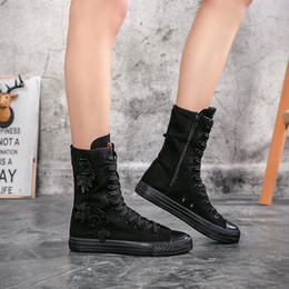 Altezza crescente autunno donne stivali moda applique tela scarpe casual  alta aiuto ragazza stivali piatto confortevole Zapatos Mujer 63c2557cada