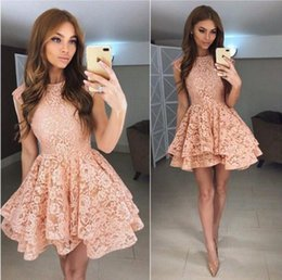 Wholesale Lace Skirt Juniors - 2018 New Arrival Short Lace Homecoming Dress with Tiered Skirt Party Graduation Gowns Elegant Cocktail Dress Junior Prom Dress m21