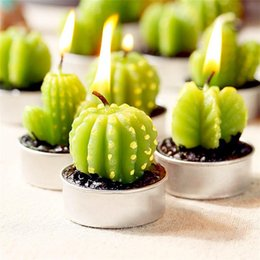 Cacto Scented Vela Verde Planta Casa Perfume Velas Românticas Chá Luz Velas de Halloween de Natal Mini Adorável Presente Vela de Fornecedores de plantas de chá verde