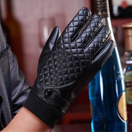 Wholesale Leather Cashmere Touch Screen Gloves - Valpeak 2017 Winter Gloves Male Mens Car Driving Full Finger Black Leather Mittens Gloves Touch Screen Windproof Warm Keeping