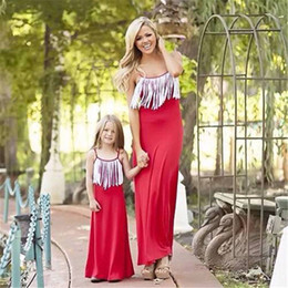 Wholesale maxi single - 2018 New Mother and Daughter Tassel Maxi Dress Women Mom and Baby Long Dress Sleeveless Lace-up Cotton B11