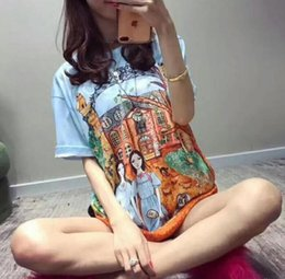 Wholesale Fairy T Shirt - Spring and summer of 2018 new fairy tale Manor two girls comic dye printing round neck short-sleeved T-shirt