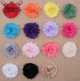 Wholesale shabby chic chiffon flowers - Nishine 15colors Fashion Chic Shabby Chiffon Flowers For Baby Hair Accessories 3D Frayed Fabric Flowers For Headbands