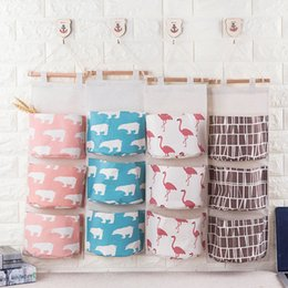 jewelry hanging storage organizer bag Coupons - 1pcs Flamingo Paern Multilayer pockets Door Wall Coon Linen Hanging Storage Bag Jewelry Cosmetic Sundries Organizer 49116