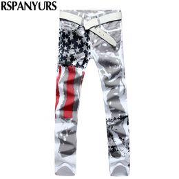 Wholesale Denim Tube - 2018 new men's white American flag print jeans straight tube stretch star red striped oversized trousers.