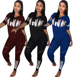 Wholesale Fishing Shirt Xl Long Sleeve - Pink Letter Women Spring Tracksuits Fish Scales Letter Splicing T-shirt and Leggings 2-piece Set Short Sleeve V-Neck Tops Jogger Suit BBA57