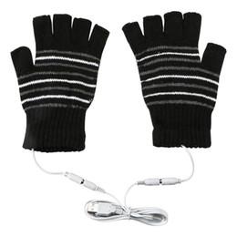 Wholesale Novelty Hand Warmers - 2017 Novelty Gloves Women 5V USB Powered Female Heating Heated Winter Knitting Mittens Hand Warmer Washable Half Finger Gloves