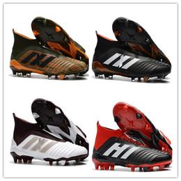 Wholesale cut out ankle boots - 2018 Mens High Ankle Football Boots Predator 18 FG Accelerator DB Soccer Shoes ACE 17 PureControl X Purechaos Nemeziz Messi Soccer Cleats