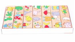 jouets dominos Promotion Blocs en bois Animaux Puzzles Domino Jouet, Animaux de bande dessinée 15PCS correspondant Domino, ENFANTS d'apprentissage et d'éducation de bébé Briques Jouet