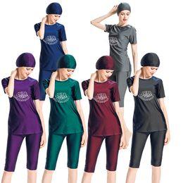 4f819988f43 Modest Muslim Swimwear Hajib Islamic Swimsuit For Women Full Cover  Conservative Burkinis Swim Wear Plus Size 4xl black 2018
