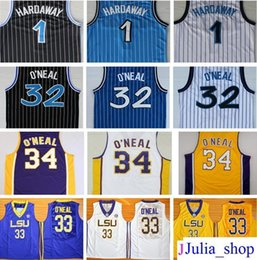 Wholesale stripe sleeveless - Cheap Mens 1 Penny Hardaway Jersey Black White Blue Stripe 32 Shaquille O'Neal Shaq Stitched 34 Shaquille O Neal College Jersey