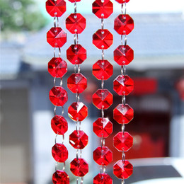 Wholesale Crystal Window Beads - Sexy Red 100m Crystal Octagonal Beads Chain For Chandelier Hanging Parts Wedding Accessories Window Hanging Pendant Decoration