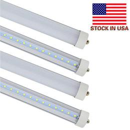 2019 bombillas fluorescentes de pie solo pin T8 8FT 45W LED Tubo de luz, base de un pin FA8, 6000K blanco frío, bombillas fluorescentes de 8 pies Reemplazo de 90W, cubierta transparente, alimentación de doble terminación bombillas fluorescentes de pie solo pin baratos