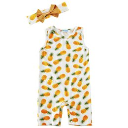 Wholesale Pineapple Patterns - Baby girls pineapple pattern romper 2pc sets bow headband+sleeveless printing romper toddlers cute clothing ins hot baby summer outfits