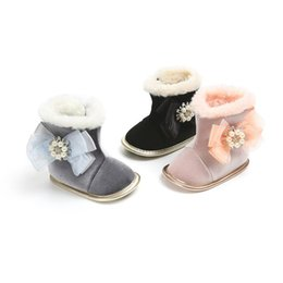 Canada Baby Girls princesse chauffe bottes de neige en velours 3 couleurs 3 tailles bébés bébé grande dentelle ruban ruban perles d'imitation decro semelle souple premier marcheur cheap crochet baby girl snow boots Offre