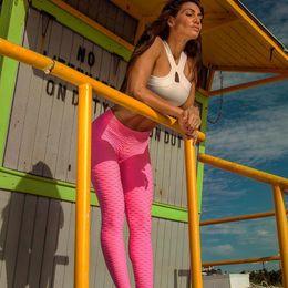 Wholesale quick control - Womens Push Up Hip Yoga Workout Pants Jacaquard Running Tummy Control Leggings