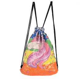 Wholesale dance jogging - Unicorn Sequins Drawstring cartoon Backpack Mermaid Travel Outdoor Bags Party Teenager School Backpack Fashion Dance Unicorn bag FFA594