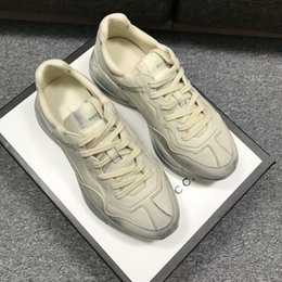 Wholesale Italian Black Leather Sneakers Men - 2018 Hot Sale Man Woman Italian Luxury Brand Fashion Trainers Couples Running Sneakers Unisex Genuine Leather Retro Rhyton Shoes