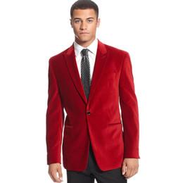 Vestiti maschi rossi prom online-Red velluto uomo abiti risvolto risvolto giacca casual elegante 2018 su misura uomo vestito da uomo d'affari prom matrimonio sposo maschio smoking 2 pezzi