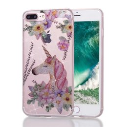 Wholesale Iphone Owl Covers - Bling Glitter Soft Tpu Transparent IMD Case Cover for iPhone 6 7 8 plus X Samsung S7 Edge S8 Unicorn flamingo flowers Owl