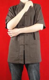 Lino fino Marrón Kung Fu Artes marciales Tai Chi Camisa Ropa XS-XL o Sastre por encargo desde fabricantes