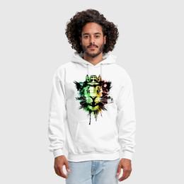 la pittura del leone Sconti Spirito maschile del Rasta Stampa personalizzata Handmade graffiti grunge jamaica re Lion splatter vernice Felpa con cappuccio Felpa con cappuccio