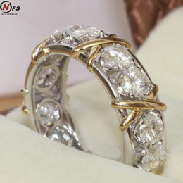 2019 ouro de zircónio Nfs luxo cristal zircônio cor de ouro incrustada zircão anel ouro-prata cor x design mulher anel desconto ouro de zircónio