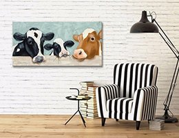 ilustraciones pintadas a mano Rebajas pintura al óleo de vaca pintada a mano de la lona linda hecha en lienzo arte de la pared pintura ilustraciones imagen para sala de estar decoración del dormitorio