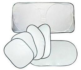 Wholesale Car Rear Window Sunshade - 6PCS Set Silver Coating Side Window Shades Car Sunshade Front Window Shades Rear Window Shades Auto Sun Block
