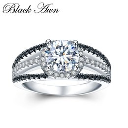 Wholesale Finest Engagement Rings - [BLACK AWN] 925 Sterling Silver Fine Jewelry Trendy Engagement Bague Wedding Rings for Women Size 6 7 8 C022