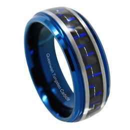 Gebürstete ringe online-8mm Blau Wolfram Ring Slive Schwarz Gebürstet Matt Blau Genuteten Zentrum Paare Ringe Set Kostenloser Versand