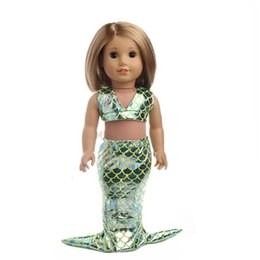 Wholesale Rope Dresses - Glittering Mermaid Clothes 18 Inch American Girl Baby Dolls Swimsuit Kids Girls Favor Birthday Gift Dress Accessories 7 8zk YY