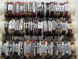 Pulseiras id de vintage on-line-Brand New Handmade Pulseiras De Couro Genuíno das Mulheres Dos Homens do Vintage Pulseira De Couro Surfer Pulseiras Elegantes Presentes de Natal Ordem Da Mistura
