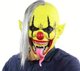 2019 máscaras de payaso espeluznantes Máscara de payaso asustadiza Látex de Halloween Máscara de cara completa Cosplay Mascarilla de disfraces de terror Fiesta fantasmal Creepy Evil Disfraz de miedo rebajas máscaras de payaso espeluznantes