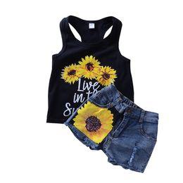 Wholesale Sunflower Style - 2018 Ins Summer Girls clothes sets Outfits Sunflower Letter Tank + denim mini Shorts 2pcs sets wholesale
