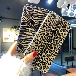 Wholesale Iphone Flash Skin - Fashion Romantic Stripe Design Flash Powder Phone Case Leopard Zebra Skin Pattern Phone Cases for iPhone 7 Plus 8