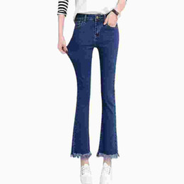 Pantalon negro online-Alta cintura negro mujer jeans mujer primavera azul delgado delgado jeans mujer flaco denim campana inferior tobillo pantalones largos