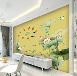 Wholesale Nature Tea - Traditional Chinese lotus pond Wall Stickers TV Background Meaning of Good PVC Safe non-toxic Sitting room Tea house