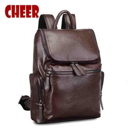Wholesale- Men s backpack school male bag laptop notebook backpacks men  travel bags pu leather backpack for school portfolios for teens 4f3a337019e64