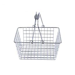 2019 cableado de escritorio Hierro Art Storage Basket Portable Debris Desktop Fruit Cosmetic Misceláneas Malla de alambre Cestas de compras Envío gratis ZA6806 cableado de escritorio baratos
