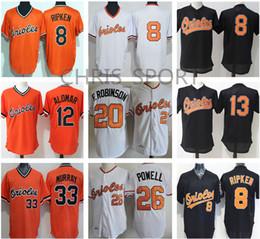 Wholesale Baseball Jersey Baltimore - Baltimore baseball throwback Jerseys #8 Cal Ripken #13 Manny Machado 12 Roberto Alomar 33 Eddie Murray 20 Frank Robinson 26 Boog Powell