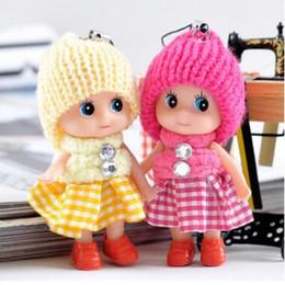 chaîne mini poupée Promotion 8 CM Enfants Jouets Doux Interactive Bébé Poupées Jouet Porte-clés, Mini Poupée Porte-clés Pour Filles Porte-clés Porte-clés Mobile Téléphone Sangles