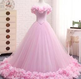 Wholesale beaded silk taffeta ball gowns - Pink Wedding Dress 2017 Ball Gowns Elegant Tulle Flowers Vestido De Novia Floor Length Long Train Trouwjurk Robe De Mariee