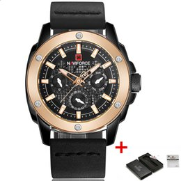 Wholesale High End Mens Watches - NAVIFORCE Mens Watches High end Brand Luxury Fashion Leather Quartz Watch Waterproof Sport Analog Military Wrist watch Relogios masculino