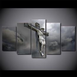 пейзаж Скидка 5 шт. холст стены искусства фотографии домашнего декора рамки Иисус статуя крест картины для гостиной HD печатает абстрактные плакаты