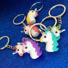 Wholesale 3d rings - Fashion 3D Unicorn Keychain Soft PVC Horse Pony Unicorn Key Ring Chains Bag Hangs Fashion Accessories Toy Gifts drop ship 340005