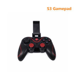 Wholesale Remote Controller Holder - 2017 Gen Game S3 Wireless 3.0 Bluetooth Gamepad Remote Control Joystick PC Game Controller for Smartphone Tablet with holder