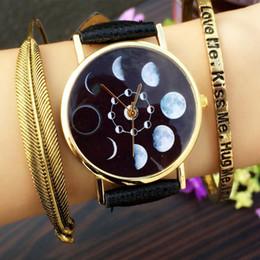 2019 cuir de montre solaire Reloj Mujer mode solaire lune phase lunaire Eclipse montre femmes élégant montre à quartz PU cuir bracelet montres femelle horloge hou promotion cuir de montre solaire